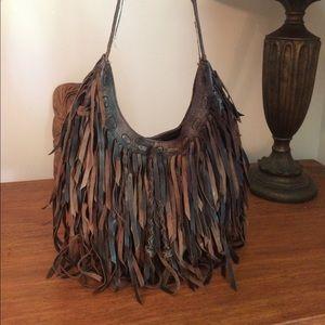 Awesome Lucky Brand Boho Fringe Leather Bag